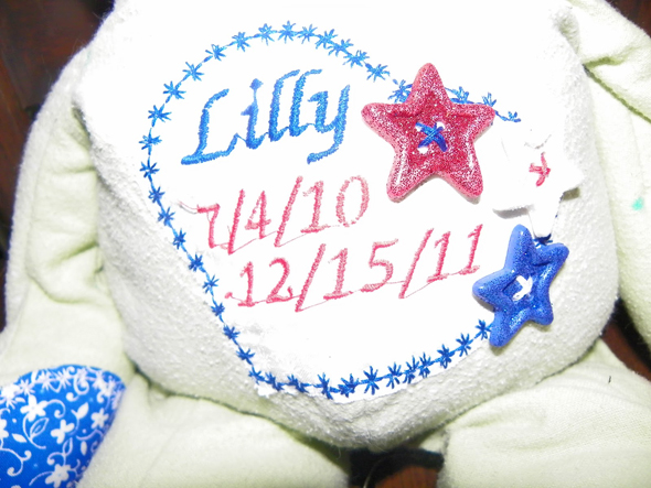 A memorial teddy bear made from the blankets Lily used to clutch